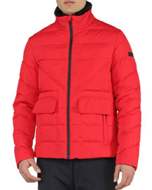 Basic Nylon Puffer Jacket, Red