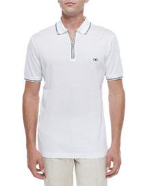 Zip Polo Shirt, White