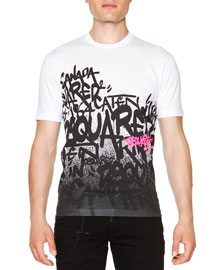 Graffiti-Print Short-Sleeve T-Shirt, White