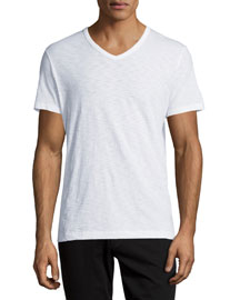 Slub Jersey V-Neck T-Shirt, White