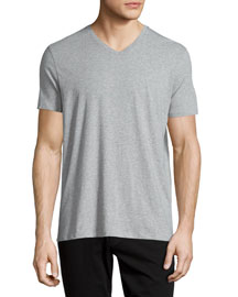 Short-Sleeve V-Neck Jersey T-Shirt, Gray