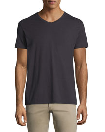 Short-Sleeve V-Neck Pima Jersey T-Shirt, Black