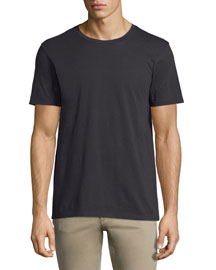 Short-Sleeve Pima Crewneck Jersey T-Shirt, Black