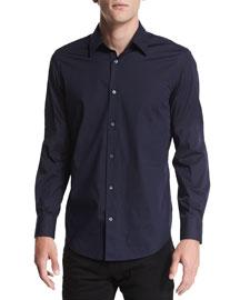 Long-Sleeve Stretch Poplin Shirt, Navy