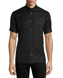 Short-Sleeve Button-Down Shirt, Black