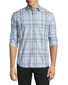 Plaid Long-Sleeve Sport Shirt, Elderberry