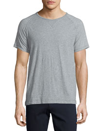 Slub Raglan-Sleeve Jersey T-Shirt, Heathered Steel