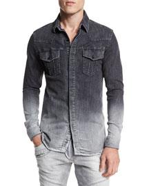Ombre Denim Button-Down Shirt, Dark Gray