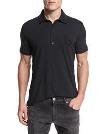 Short-Sleeve Jersey Polo Shirt, Black