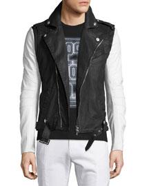 Asymmetrical-Zip Moto Jacket, Black/White