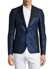 Star-Print Jacquard One-Button Evening Jacket, Black/Blue