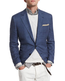 Plaid Two-Button Sport Coat, Sky Blue