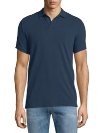 Johnny-Collar Pique Polo Shirt, Navy