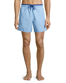 Moka Bi-Color Solid Swim Trunks, Light Blue