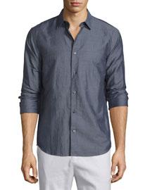 LInen-Blend Long-Sleeve Sport Shirt, Charcoal