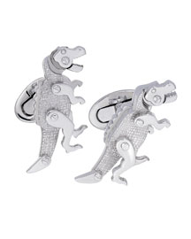 Moving Rivet T-Rex Dinosaur Cuff Links