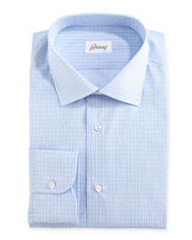 Grid-Check Dress Shirt, Blue