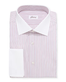 Contrast-Collar Multi-Stripe Dress Shirt, Red/Blue