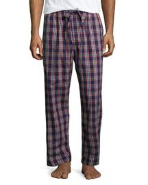 Bold-Check Flannel Pajama Pants, Purple