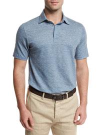 Melange Striped Short-Sleeve Polo Shirt, Light Blue