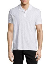 Short-Sleeve Slub Knit Polo Shirt, White