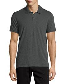 Short-Sleeve Slub Polo Shirt, Gray