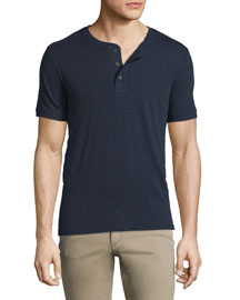 Short-Sleeve Slub Henley Shirt, Navy