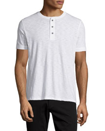 Short-Sleeve Slub Henley T-Shirt, White