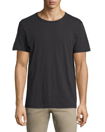 Slub Short-Sleeve Crewneck T-Shirt, Black