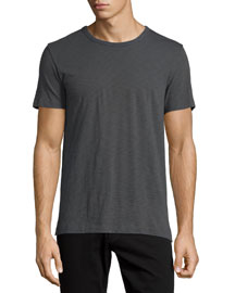 Short-Sleeve Slub Knit T-Shirt, Gray