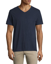 Slub Short-Sleeve V-Neck T-Shirt, Navy