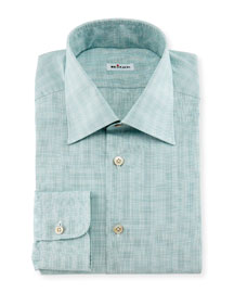Micro-Check Windowpane Woven Dress Shirt, Sage