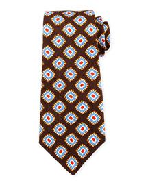 Grenadine Medallion-Print Silk Tie, Brown
