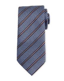 Textured Striped Silk Tie, Light Blue