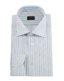 Alternating-Striped Dress Shirt, Open White Pattern