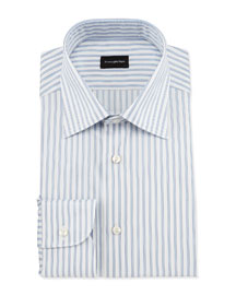Wide Striped Woven Dress Shirt, Open White Pattern