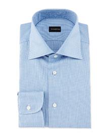 Micro-Gingham Woven Dress Shirt, Blue