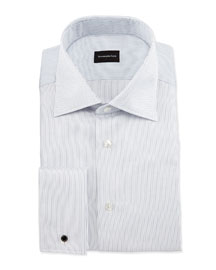 Dotted Stripe Woven French-Cuff Dress Shirt, White/Navy