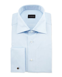Textured Solid French-Cuff Dress Shirt, Blue