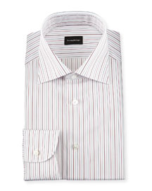 Multi-Stripe Woven Dress Shirt, Open White Pattern