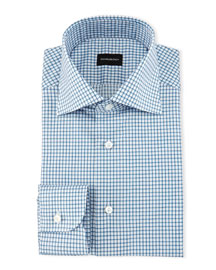 Shadow Graph-Check Dress Shirt, Teal