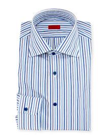 Striped Mitered-Cuff Dress Shirt, White/Blue
