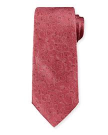 Scroll-Print Tie, Burgundy