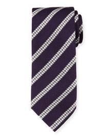 Textured Track-Stripe Silk Tie