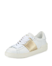 Men's Low-Top Lace-Up Leather Sneaker, Cream/Gold
