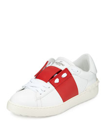 Wide-Striped Leather Sneaker, Ivory