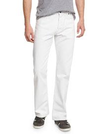 Straight-Leg Jeans, White