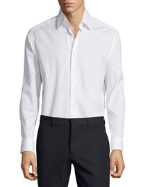 Long-Sleeve Button-Front Dress Shirt, White