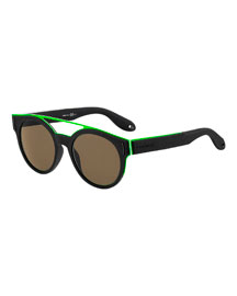 Metal & Rubber Rounded Square Sunglasses