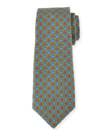 Neat Circle-Medallion Printed Silk Tie